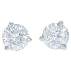 .23 Carat Diamond Earrings, 14 Karat White Gold Pierced Studs