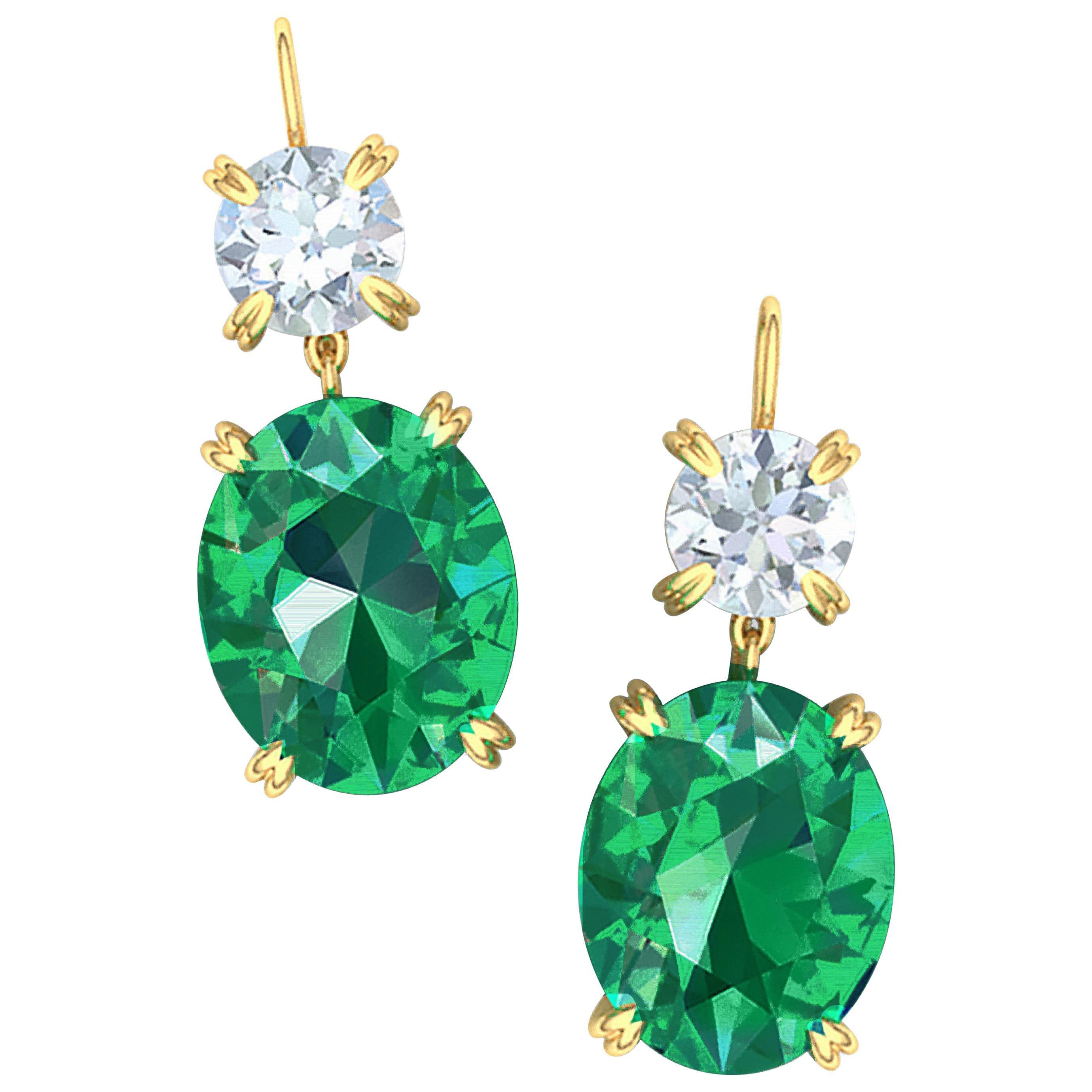 2.3 Carat Emerald and Diamond Drop Earrings