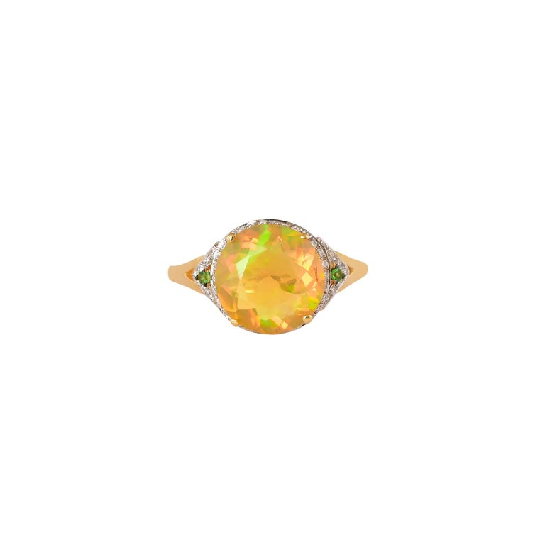Round Cut 2.3 Carat Ethiopian Opal with Tsavorite and Diamond Ring in 18 Karat Yellow Gold For Sale