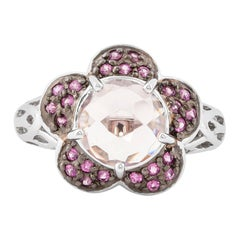 2.3 Carat Morganite and Pink Sapphire Ring in 14 Karat White Gold