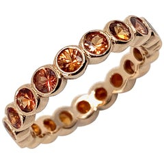 2.3 Carat Natural Orange Sapphire Eternity or Stacker Band in Rose Gold