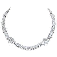23 Carat Platinum Baguette and Round Diamond Collar Necklace