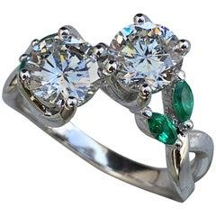 2.3 Carat Round Diamond and Emerald Ring, Ben Dannie