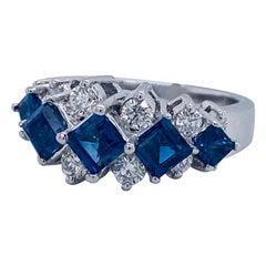 2.3 Carat Sapphire Diamond Princess Cut and Diamond Cocktail Ring