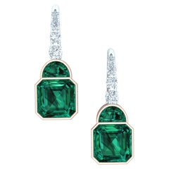 2.3 Carat Tourmaline and Diamond Rose and White Gold Dangle Earrings