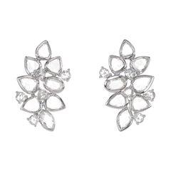 2.3 Carat White Rose Cut Diamond Dangle Earring