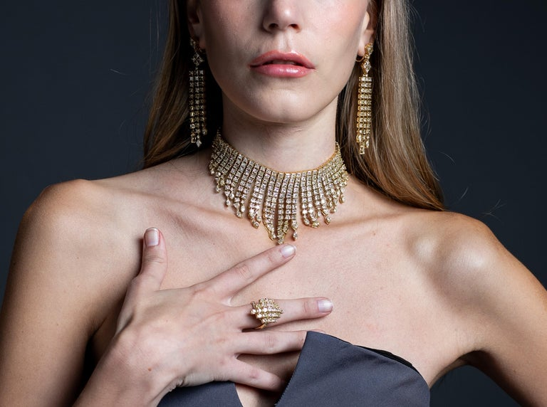 Mixed Cut 2.3 Carat Yellow Diamond Ring in 18 Karat Yellow Gold For Sale