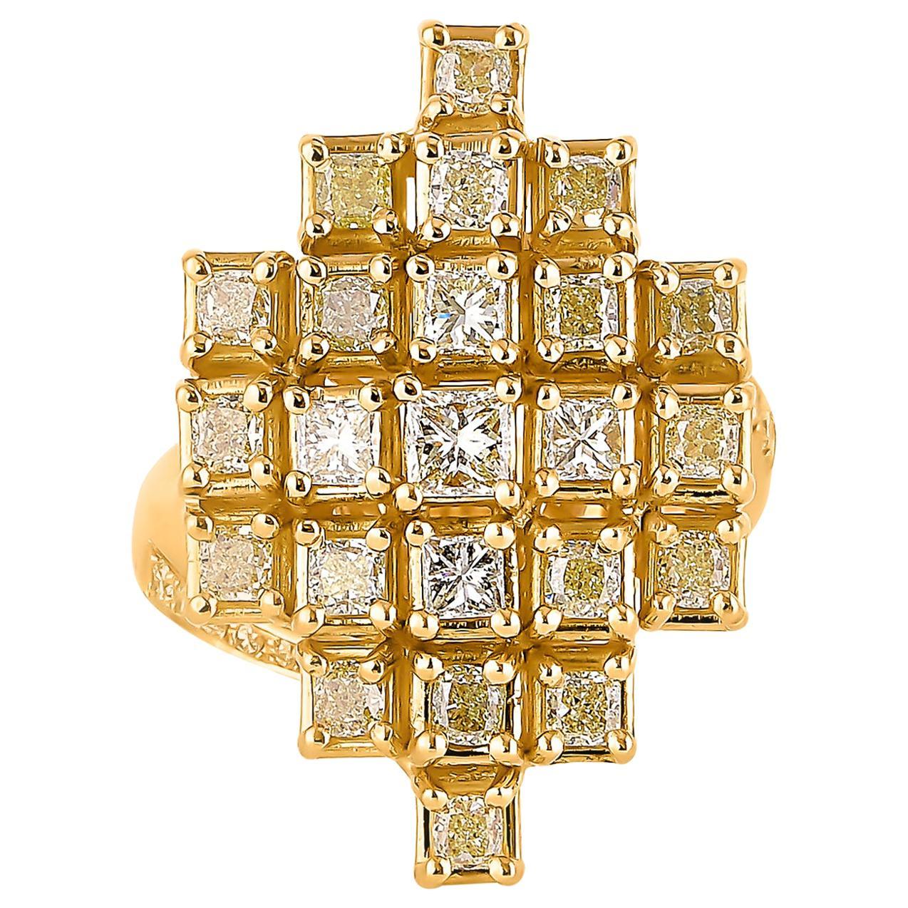 2.3 Carat Yellow Diamond Ring in 18 Karat Yellow Gold