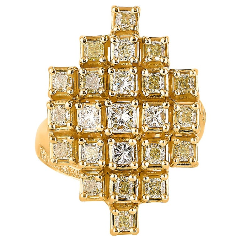 2.3 Carat Yellow Diamond Ring in 18 Karat Yellow Gold For Sale