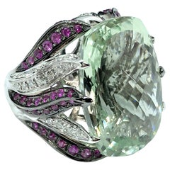 23 Ct Green Prasiolite White Gold Cocktail Ring Diamond and Pink Sapphires Flame