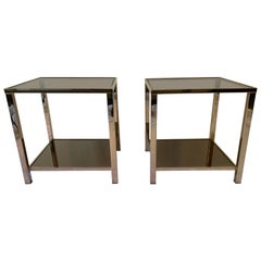 23-Karat Gold-Plated Pair of Side Tables by Belgo Chrome