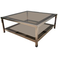 23-Karat Gold Plated Square 2-Tiers Coffee Table by Belgo Chrom, 1980s