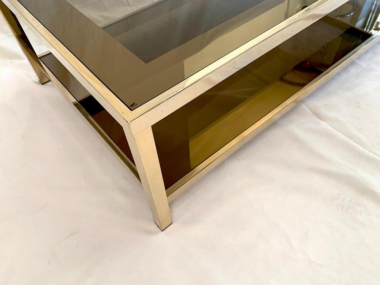 Mid-Century Modern 23-Karat Gold-Plated Two-Tier Coffee Table by Belgo Chrome For Sale