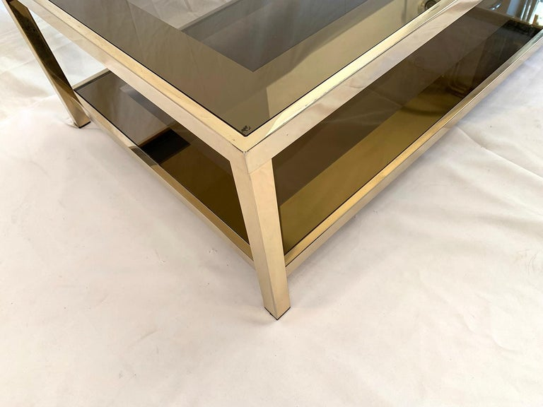 Belgian 23-Karat Gold-Plated Two-Tier Coffee Table by Belgo Chrome For Sale