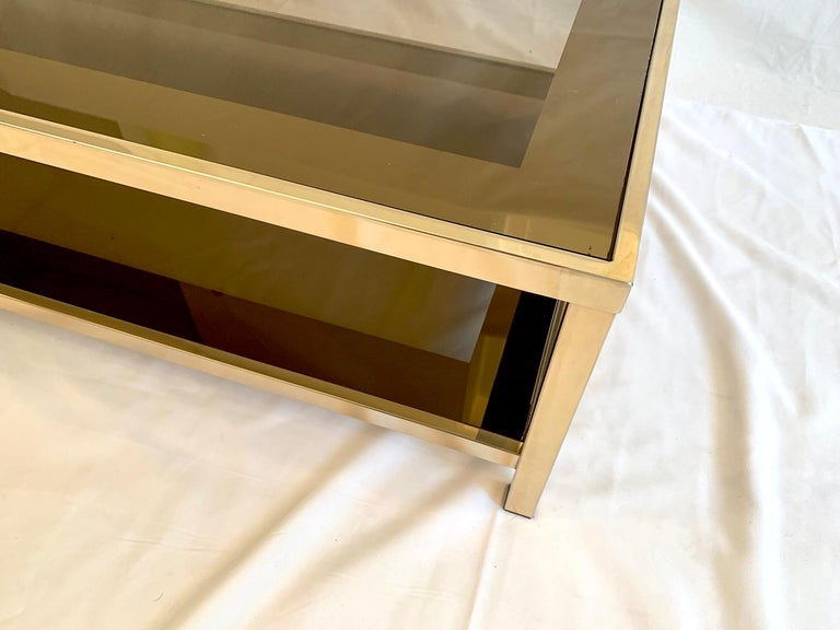 23-Karat Gold-Plated Two-Tier Coffee Table by Belgo Chrome In Good Condition For Sale In Brussels, Brussels