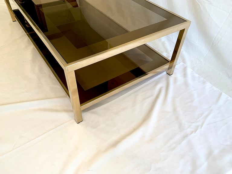 Late 20th Century 23-Karat Gold-Plated Two-Tier Coffee Table by Belgo Chrome For Sale