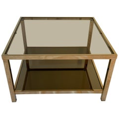 23-Karat Gold-Plated Two-Tier Squared Coffee Table by Belgo Chrome