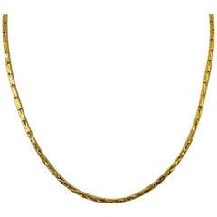 23 Karat Yellow Gold Heavy Diamond Cut Box Bar Link Chain Necklace
