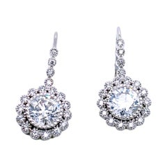 2.30 Carat 14 Dangling Diamond Earring with 1 Carat RB Center and Halo
