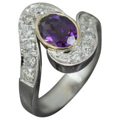 2.30 Carat Approximate Oval Amethyst  and Diamond Ring, Ben Dannie