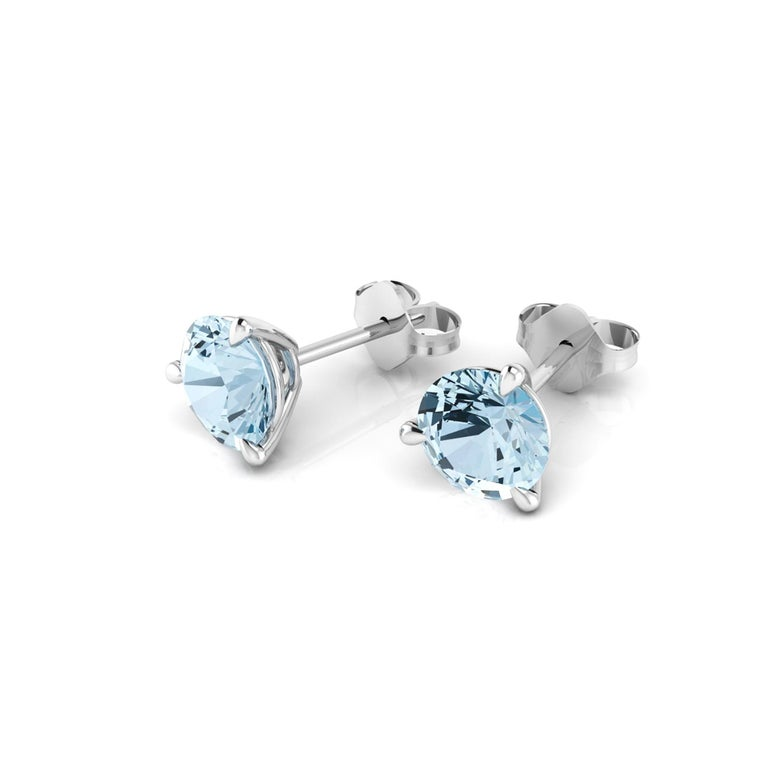 2.30 carat Aquamarine Martini ear-studs, hand made in 18k white gold in New York City with the best Italian craftsmanship,  Perfect gift for any woman and every age, easy to wear from the office to a special evening out.