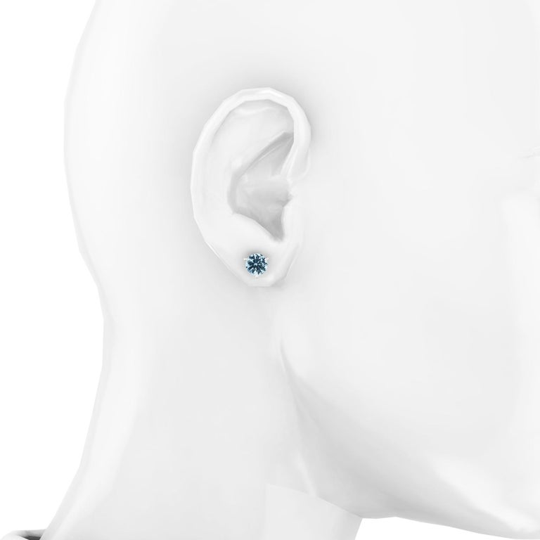 2.30 Carat Aquamarine Martini Ear Studs 18 Karat White Gold In New Condition For Sale In New York, NY