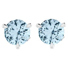 2.30 Carat Aquamarine Martini Ear Studs 18 Karat White Gold