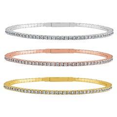 2.30 Carat Diamond All Around Gold Bangle Tension Bracelet