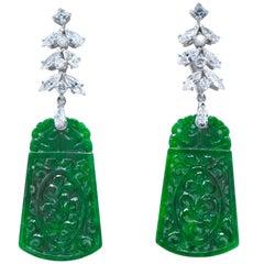 2.30 Carat Diamond and Platinum 'Day/Night' Jade Earrings
