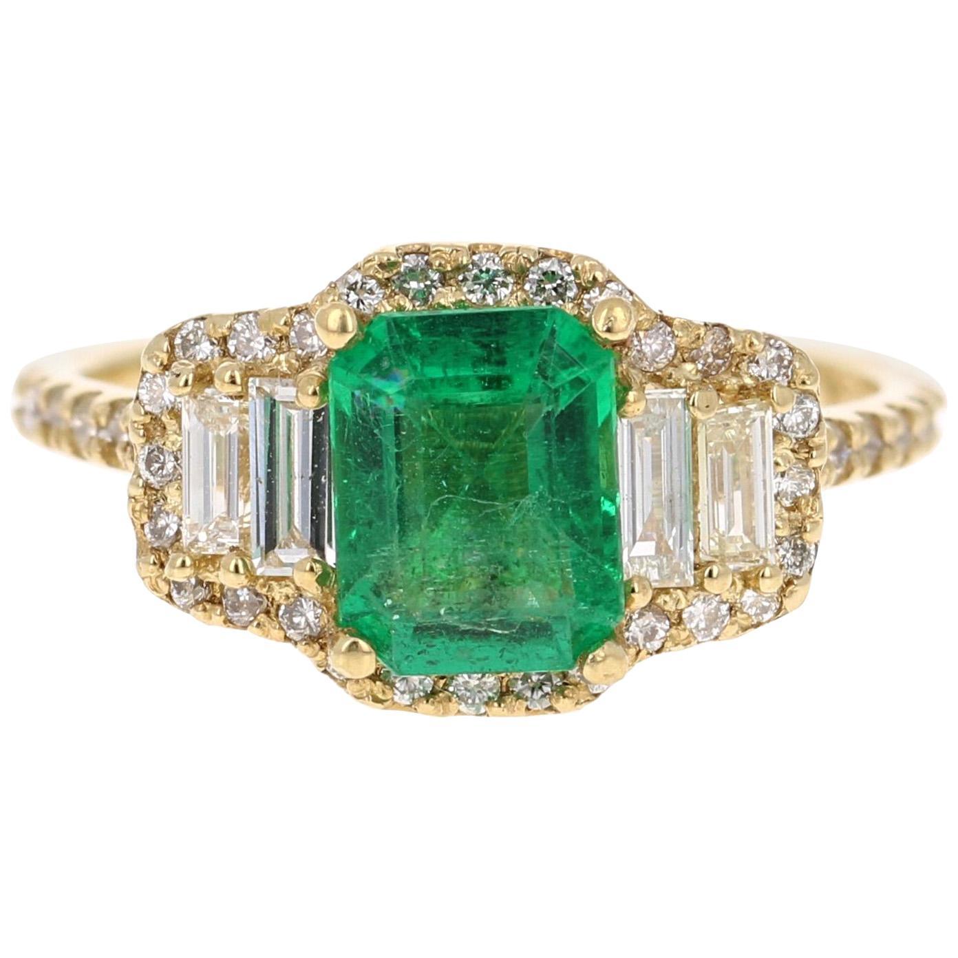 2.30 Carat Emerald Diamond 14 Karat Yellow Gold Three-Stone Ring GIA Certified