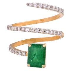 2.30 Carat Emerald Diamond 18 Karat Yellow Gold Spiral Ring