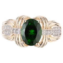 2.30 Carat Green Tourmaline Diamond Yellow Gold Ring