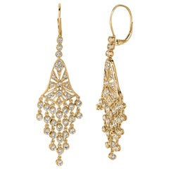 2.30 Carat Natural Diamond Chandelier Earrings G SI 14 Karat Yellow Gold