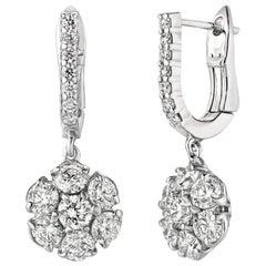 2.30 Carat Natural Diamond Flower Drop Earrings G SI 14 Karat White Gold