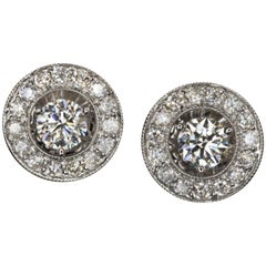 2.30 Carat Natural Diamonds Big Studs Halo Earrings White Gold