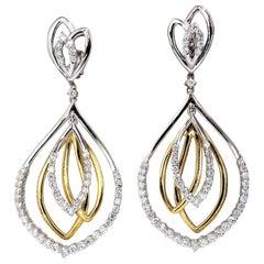 2.30 Carat Natural Diamonds Four-Tier Loop Dangle Earrings 14 Karat G/Vs
