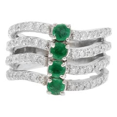 2.30 Carat Natural Emerald and Diamond 14 Karat Solid White Gold Ring