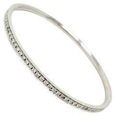 2.30 Carat Round Brilliant Diamond Eternity Bangle Bracelet 14 Karat White Gold
