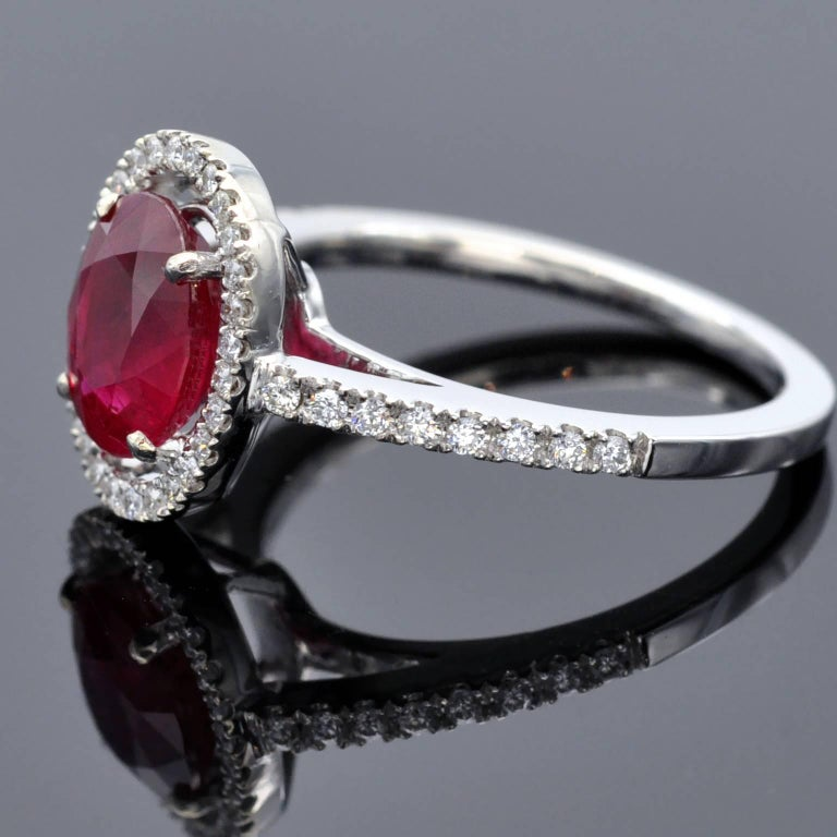 Ruby Engagement Rings For Sale: 2.30 Carat Ruby And Diamond Halo Engagement Ring For Sale