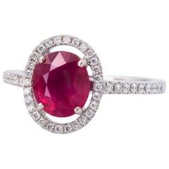 2.30 Carat Ruby Diamond Halo Ring