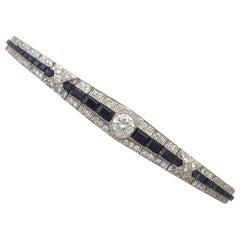 2.30 Carat Sapphire and 3.67 Carat Diamond, 18 Karat White Gold Bracelet