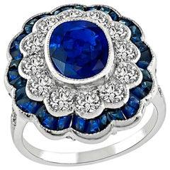 2.30 Carat Sapphire Diamond White Gold Ring