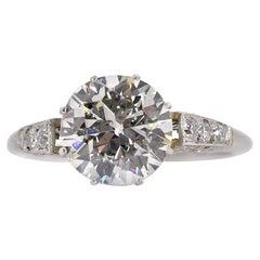 2.30 Carat Transitional Cut Diamond Platinum Ring
