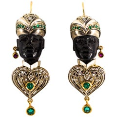 2.30 Carat White Diamond Emerald Ruby Ebony Yellow Gold Moor of Venice Earrings