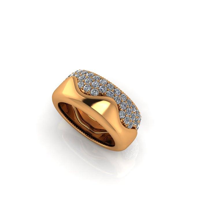 2.30 Carat White Diamond Melting Away Pave Ring in 18 Karat Yellow Gold For Sale 4