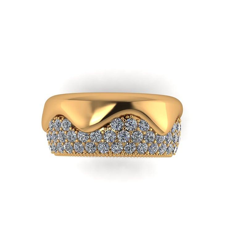 Modern 2.30 Carat White Diamond Melting Away Pave Ring in 18 Karat Yellow Gold For Sale