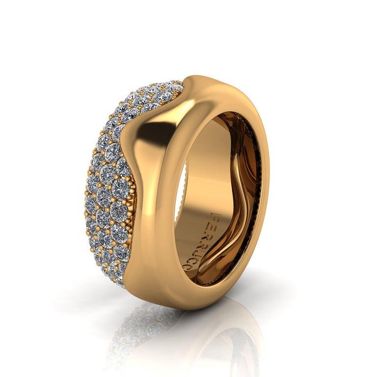Round Cut 2.30 Carat White Diamond Melting Away Pave Ring in 18 Karat Yellow Gold For Sale
