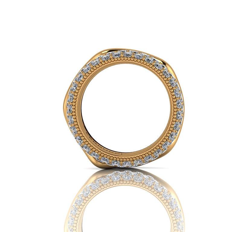 Women's 2.30 Carat White Diamond Melting Away Pave Ring in 18 Karat Yellow Gold For Sale