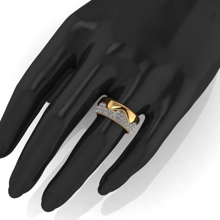 2.30 Carat White Diamond Melting Away Pave Ring in 18 Karat Yellow Gold For Sale 1
