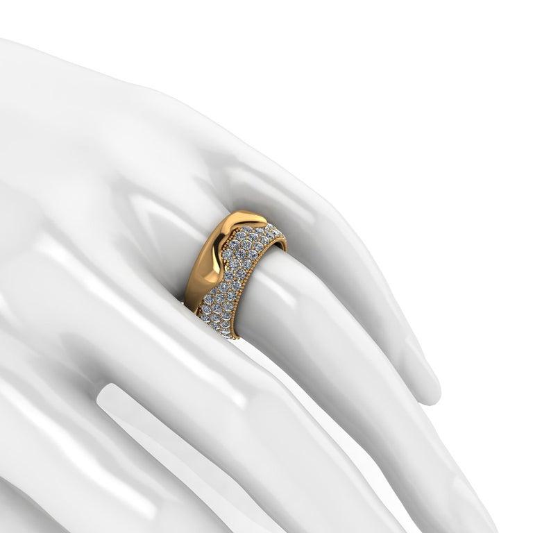 2.30 Carat White Diamond Melting Away Pave Ring in 18 Karat Yellow Gold For Sale 2